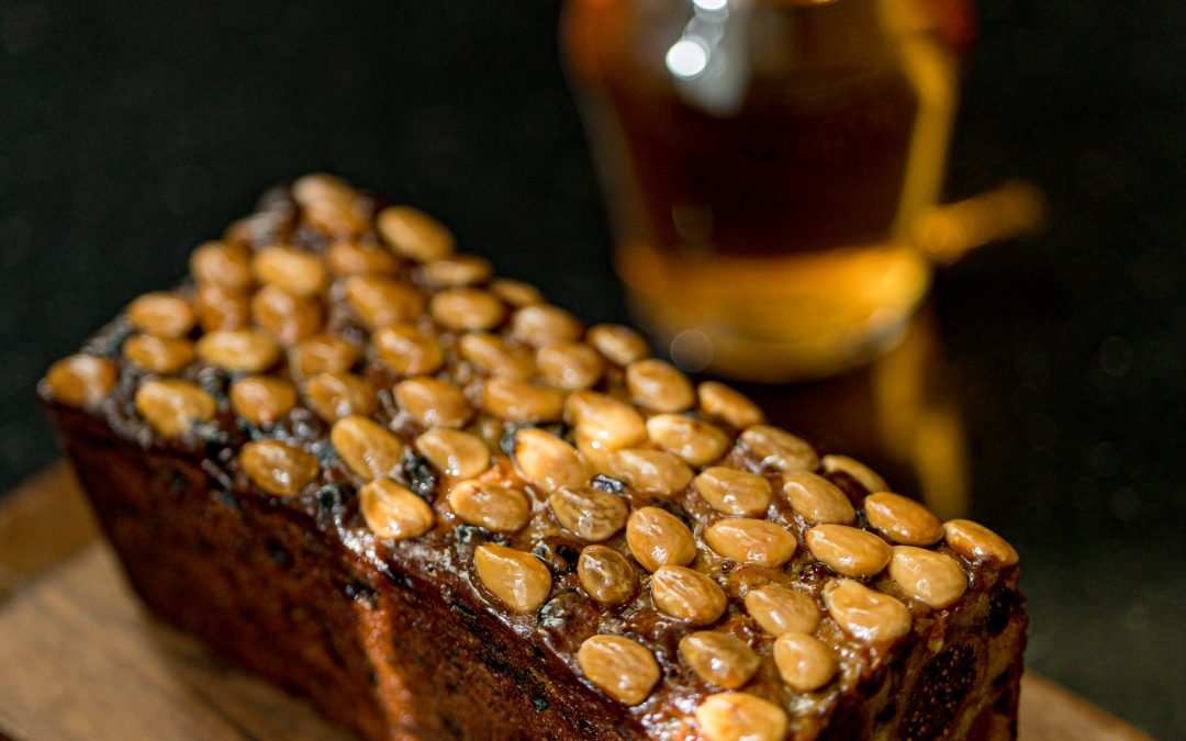 Dundee cake, pan fried, cold infused Earl Grey tea